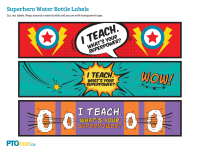 Superhero Teacher Appreciation Water Bottle Labels
