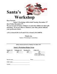 Santa Shop letter