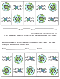 Earth Day collection sheet