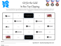 Go for the GOLD in Box Top Clipping (25 count summer contest)