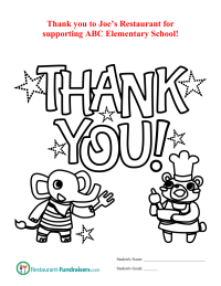 Restaurant Fundraiser Kids Thank-You Page