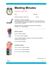 PTO Today: Meeting Minutes Outline