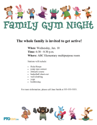 Family Gym Night Flyer