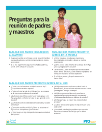 Parent-Teacher Conference Questions (Spanish)