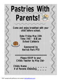 Doughnutsmuffins pto today pastries with parents invitation stopboris Choice Image