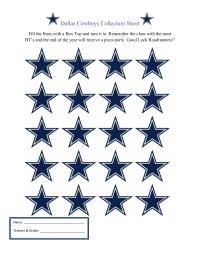 Dallas Cowboys Collection Sheet