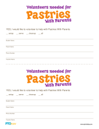 Pastries With Parents Volunteer Form