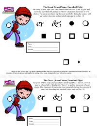 Snowball Fight Contest Collection Sheet