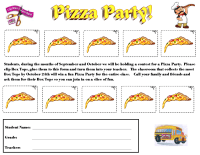 Box Tops Pizza Party Collection Sheet (Sept/Oct)