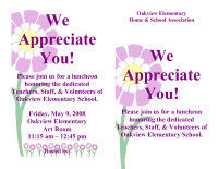 Teacher Appreciation Luncheon Invite PTO Today