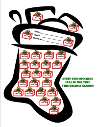 2008 Holiday Stocking Collection Sheet