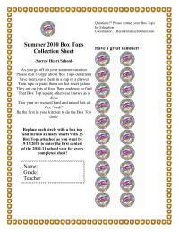 Back to School/ Summer collection sheet