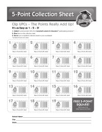 Campbells Labels for Education 5 point collection sheet
