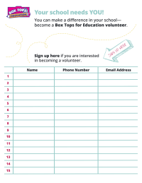 Box Tops volunteer signup sheet