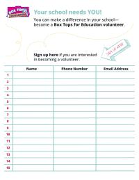 box tops volunteer signup sheet pto today