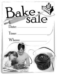 PTO Today: Bake Sale flyer (B&W)
