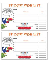 Scholastic Bookfair Wish List - Rain Forest Theme