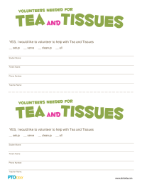 Tea and Tissues Volunteer Form