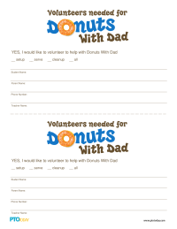 Doughnuts With Dad Volunteer Form