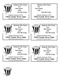 Movie Night Snack Ticket