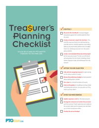 Parent Group Treasurer's Planning Checklist