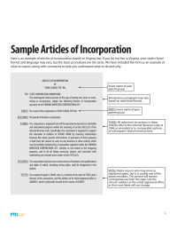 PTO Today: Sample Articles of Incorporation