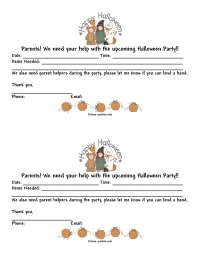 Halloween Class Party Parent Letter