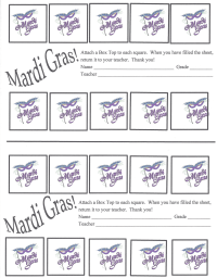 Mardi Gras double 10 collection sheet