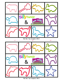 Silly Bandz 10 count collection sheet