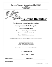 Welcome Breakfast Flyer