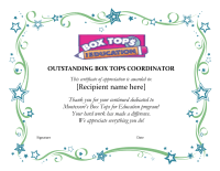 Outstanding Box Top Coordinator Certificate