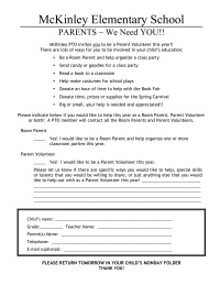 Parent Volunteer Flyer/Outreach