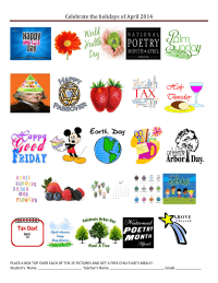 25 count: Celebrate the Holidays of April 2014 collection sheet