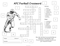 AFC Football Crossword Collcection sheet