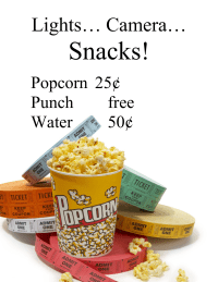 Family Movie Night Concession Sign