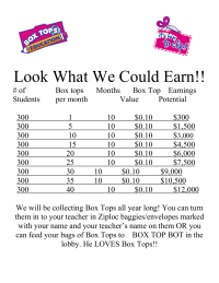 Box Tops Earnings Potential Flyer