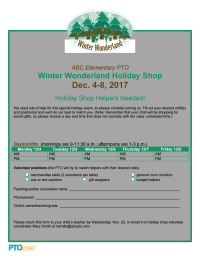 Holiday Shop Volunteer Sign-up Sheet: Winter Wonderland