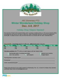 Holiday Shop Volunteer Sign-up Sheet: Winter Wonderland