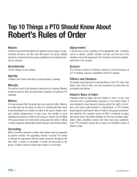 PTO Today: Robert's Rules for Leaders—Top 10