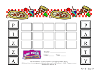 Pizza Party Box Top Collection Sheet- 25 count
