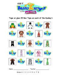 Kookey's Collection Sheet - 25 count