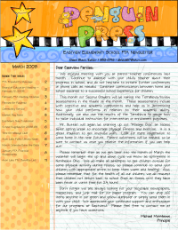 Eastview Elementary PTA Newsletter Sample