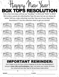New Year's Resolution 2013 - Collection Sheet