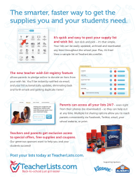 TeacherLists.com Flyer for Teachers
