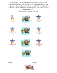 2010 Olympic Collection Sheet