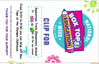 Flyer for Box Tops week collection bin
