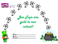 March Box tops gold for our school collection sheet