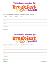 Breakfast Buddies Volunteer Form