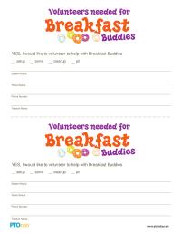 Breakfast Buddies Volunteer Form