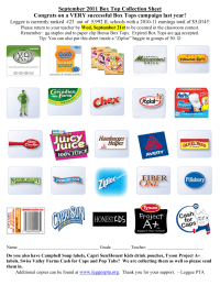 Popular Box Top Products placeholders - 25 ct. Collection Sheet